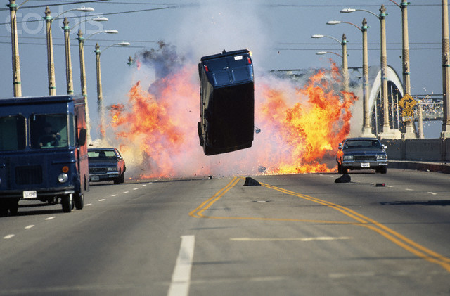 Van Exploding for Filming of a Movie